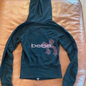 Bebe Black Beaded Zip Up Hoodie